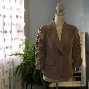 The Limited Ruched Arm Taupe Blazer